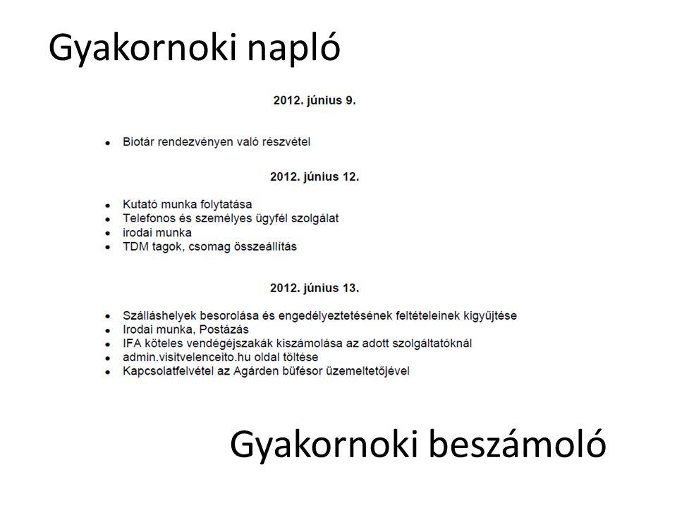 Gyakornoki napló Gyakornoki beszámoló Gyakornoki megbeszéléseken: