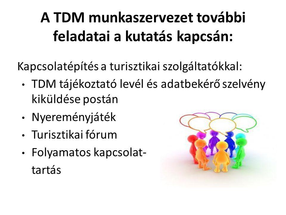 A TDM munkaszervezet további feladatai a kutatás kapcsán: