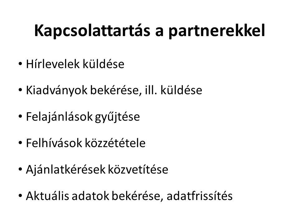 Kapcsolattartás a partnerekkel