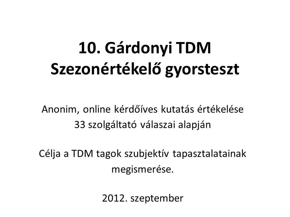 10. Gárdonyi TDM Szezonértékelő gyorsteszt
