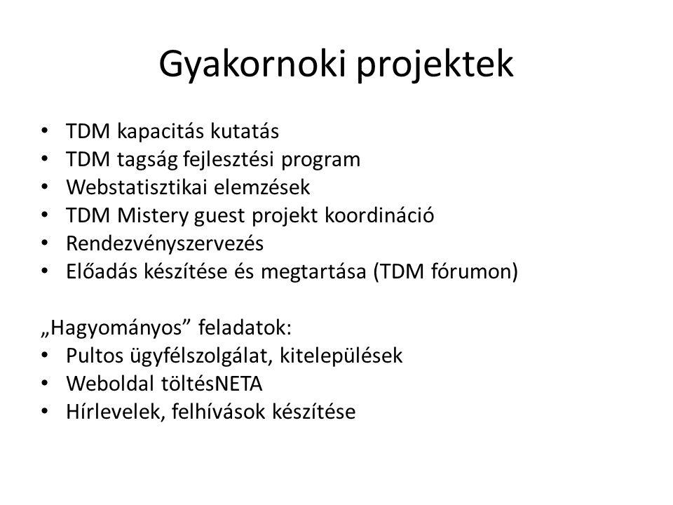 Gyakornoki projektek TDM kapacitás kutatás