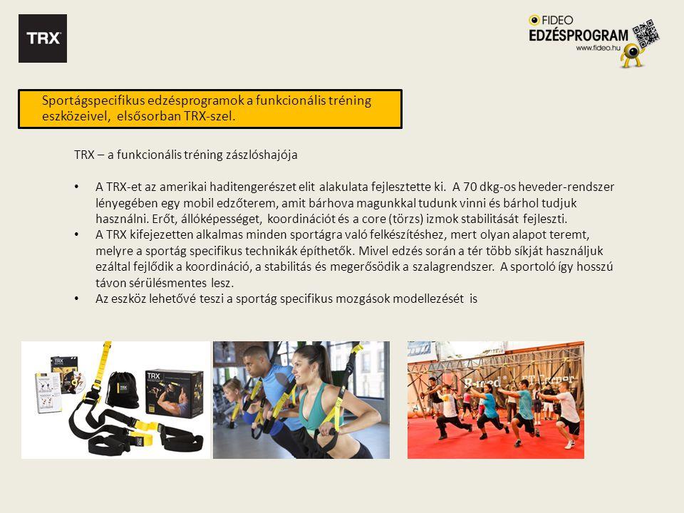 Sportágspecifikus edzésprogramok a funkcionális tréning eszközeivel, elsősorban TRX-szel.