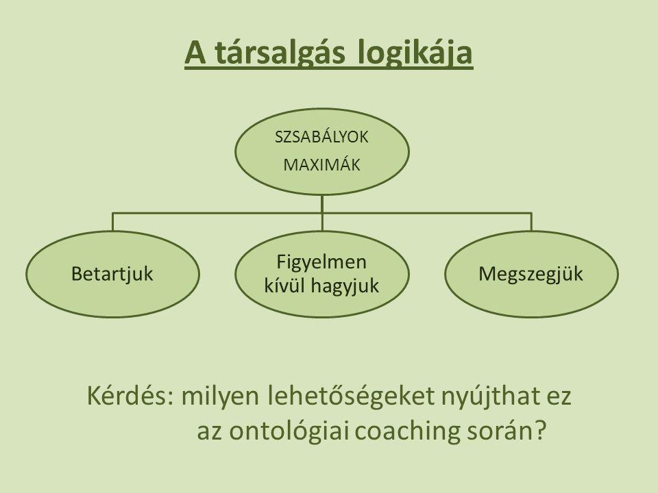 A társalgás logikája Kérdés: milyen lehetőségeket nyújthat ez