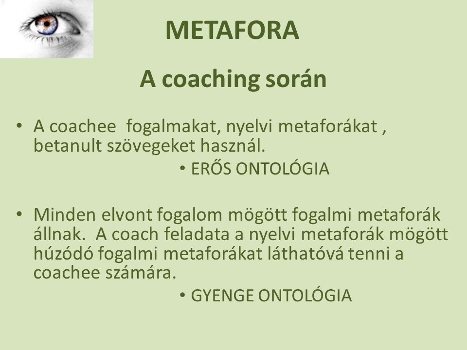 METAFORA A coaching során