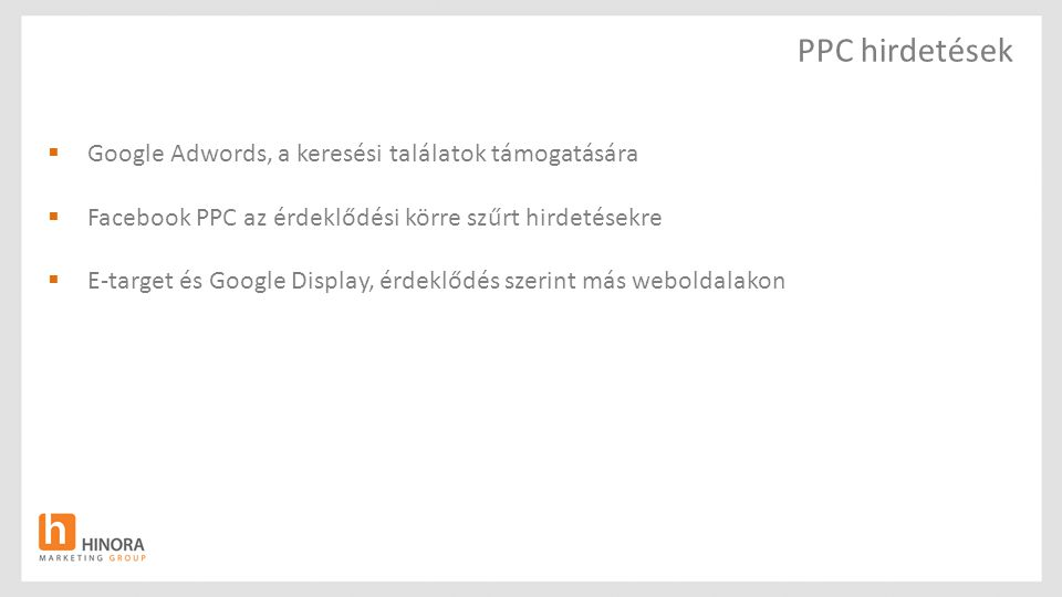 PPC hirdetések Google Adwords, a keresési találatok támogatására