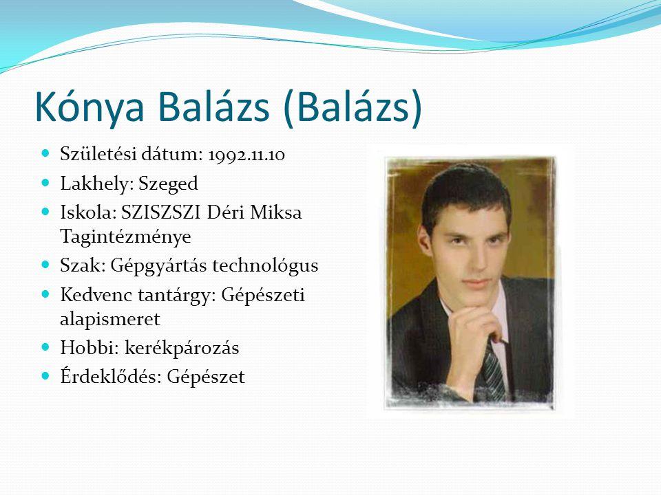 Kónya Balázs (Balázs) Születési dátum: 1992.11.10 Lakhely: Szeged