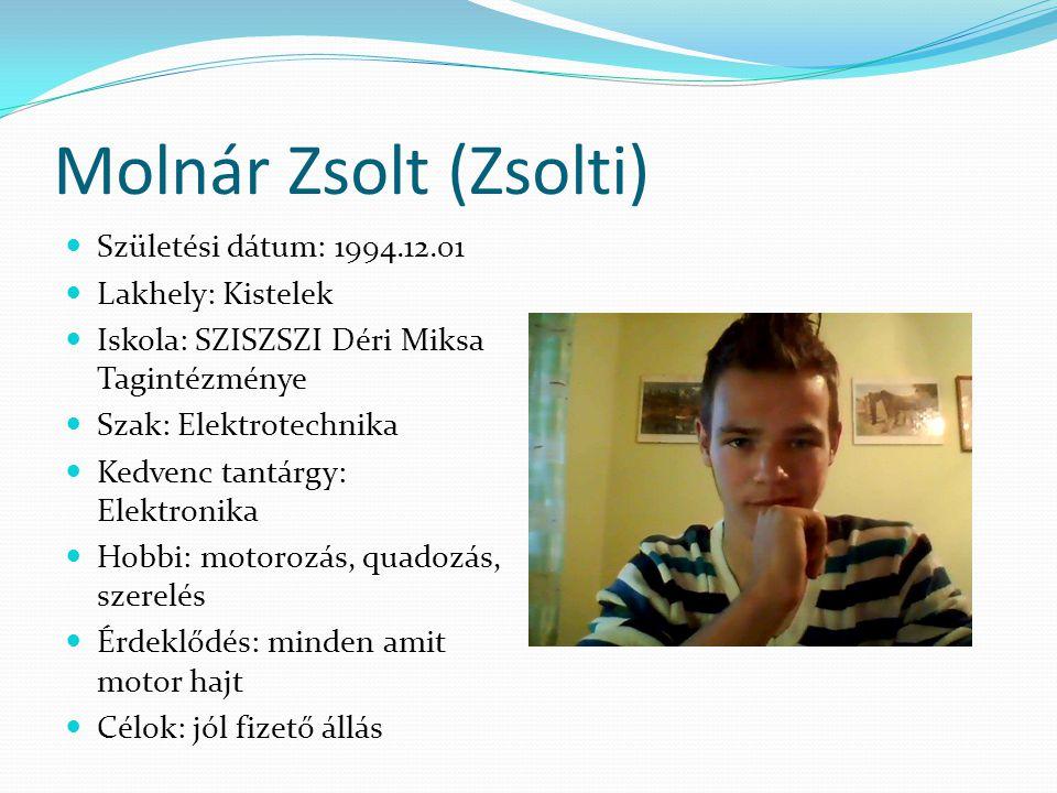 Molnár Zsolt (Zsolti) Születési dátum: 1994.12.01 Lakhely: Kistelek