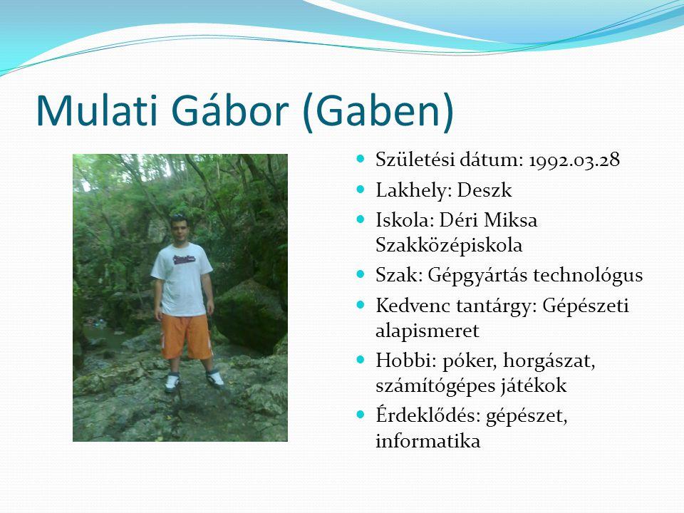Mulati Gábor (Gaben) Születési dátum: 1992.03.28 Lakhely: Deszk