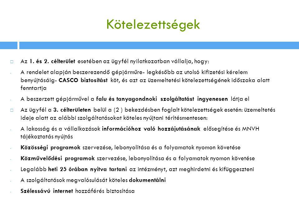 Kötelezettségek Az 1. és 2. célterület esetében az ügyfél nyilatkozatban vállalja, hogy: