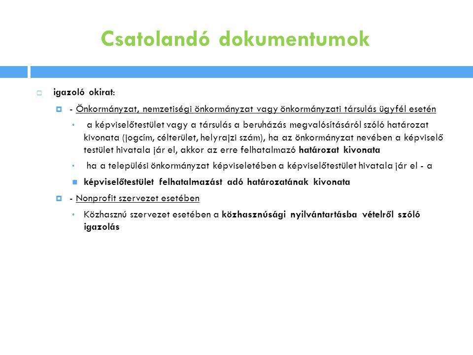 Csatolandó dokumentumok