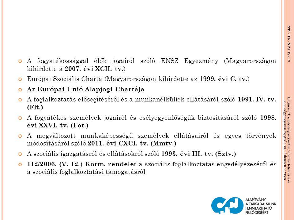 A fogyatékossággal élők jogairól szóló ENSZ Egyezmény (Magyarországon kihirdette a 2007. évi XCII. tv.)
