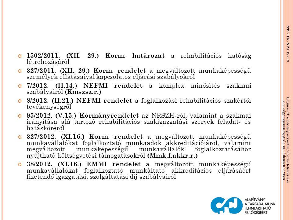 1502/2011. (XII. 29.) Korm. határozat a rehabilitációs hatóság létrehozásáról