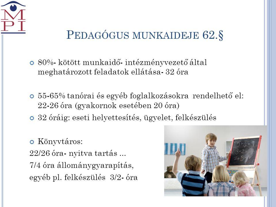 Pedagógus munkaideje 62.§