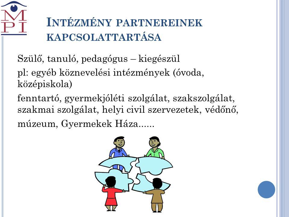Intézmény partnereinek kapcsolattartása