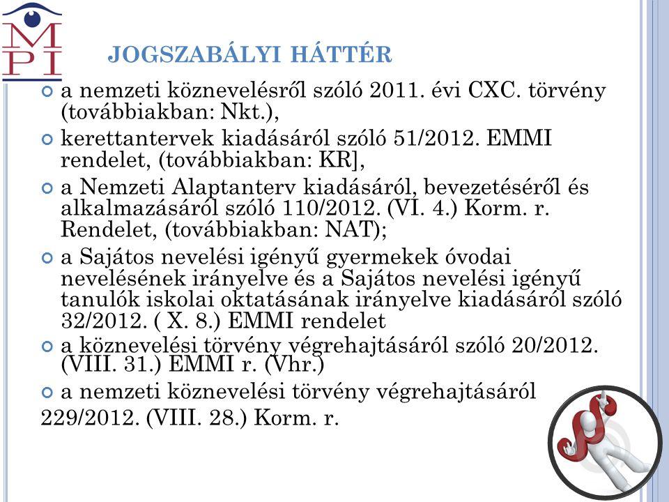 J jogszabályi háttér a nemzeti köznevelésről szóló 2011. évi CXC. törvény (továbbiakban: Nkt.),