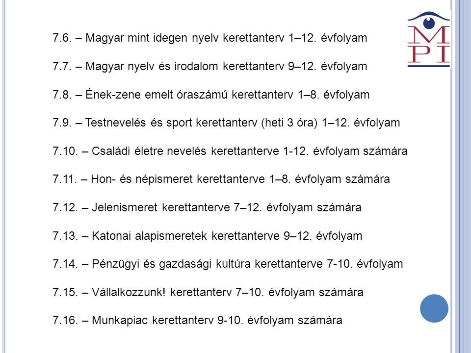 7.6. – Magyar mint idegen nyelv kerettanterv 1–12. évfolyam