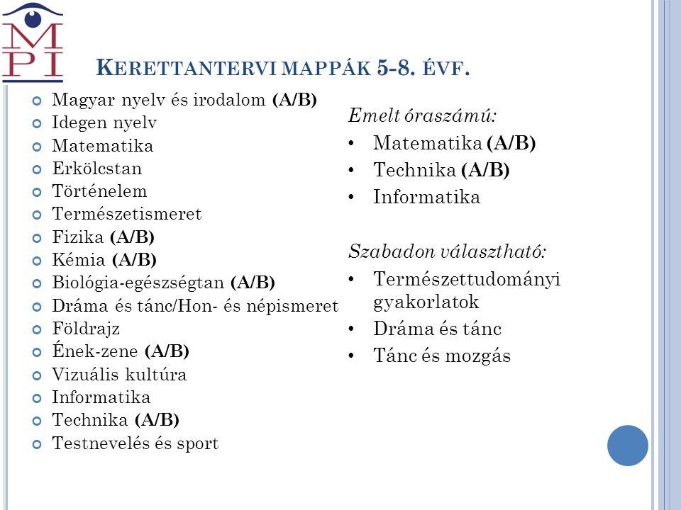 Kerettantervi mappák 5-8. évf.