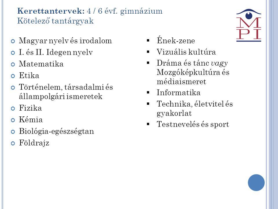 Kerettantervek: 4 / 6 évf. gimnázium Kötelező tantárgyak