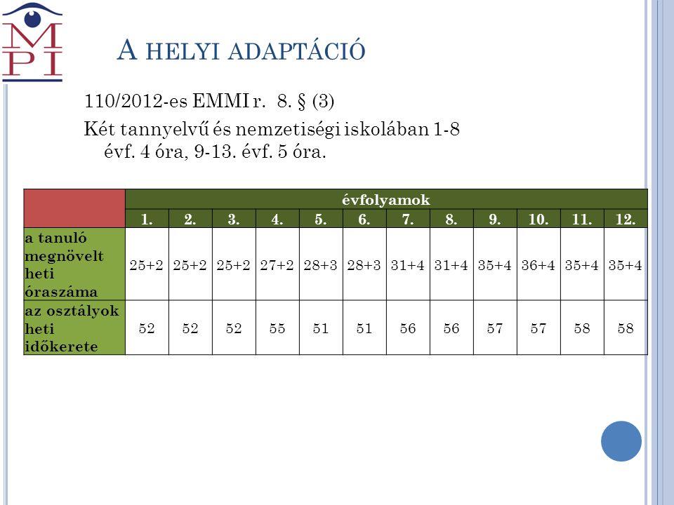 A helyi adaptáció 110/2012-es EMMI r. 8. § (3)