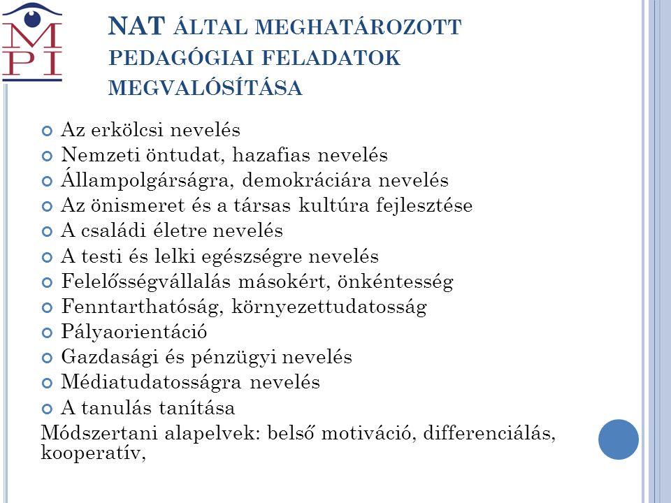 NAT által meghatározott pedagógiai feladatok megvalósítása