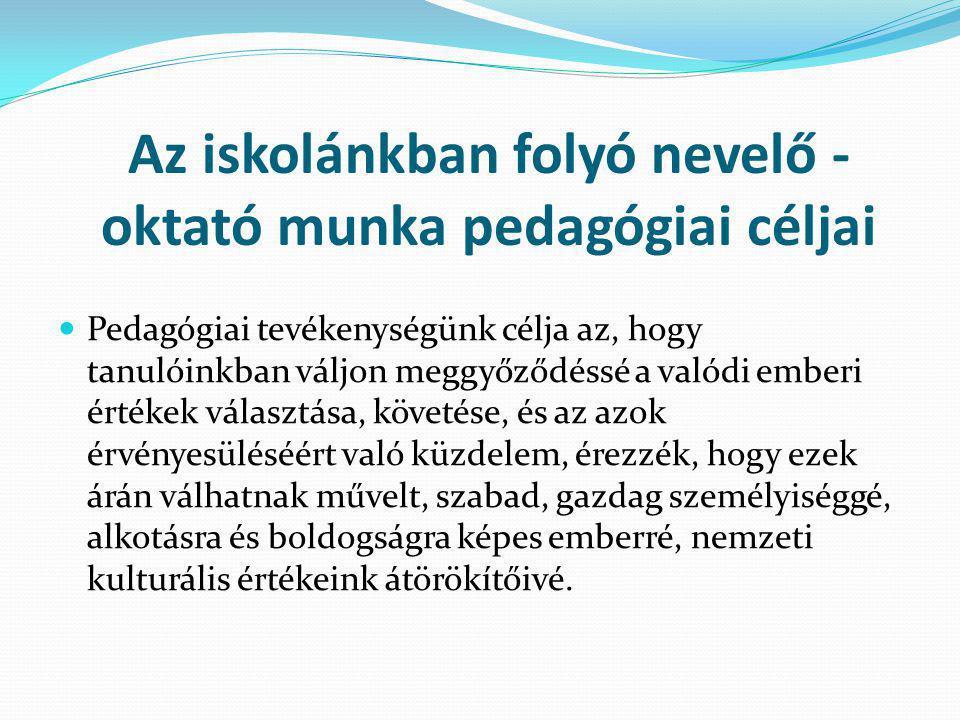 Az iskolánkban folyó nevelő - oktató munka pedagógiai céljai