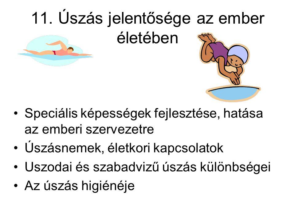 11. Úszás jelentősége az ember életében