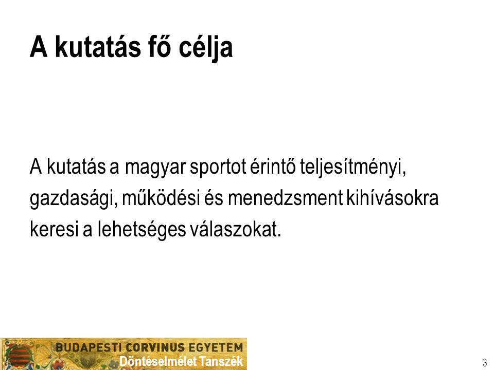 A kutatás fő célja A kutatás a magyar sportot érintő teljesítményi,