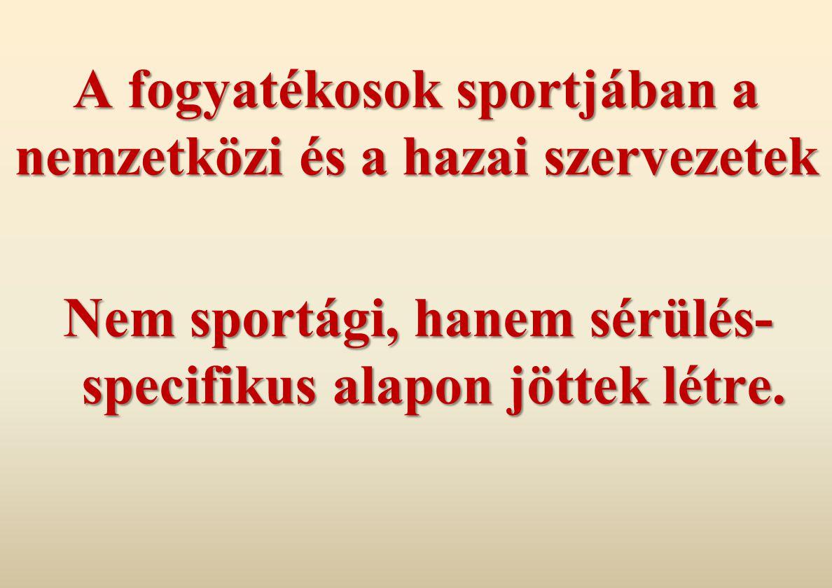 A fogyatékosok sportjában a nemzetközi és a hazai szervezetek