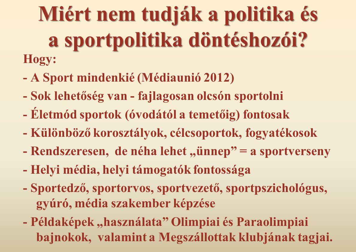 Miért nem tudják a politika és a sportpolitika döntéshozói