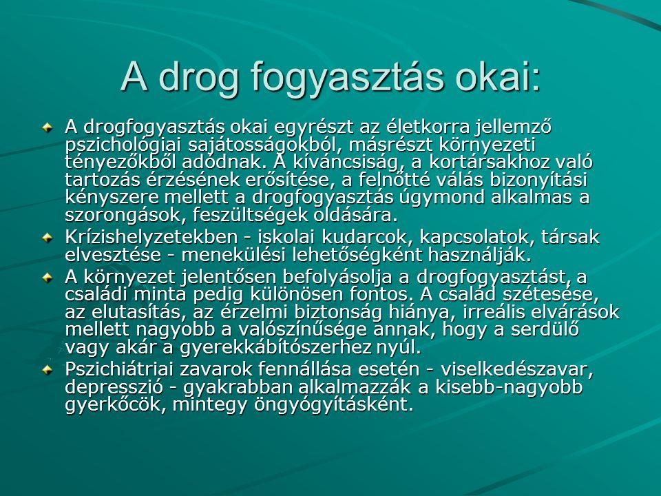 A drog fogyasztás okai: