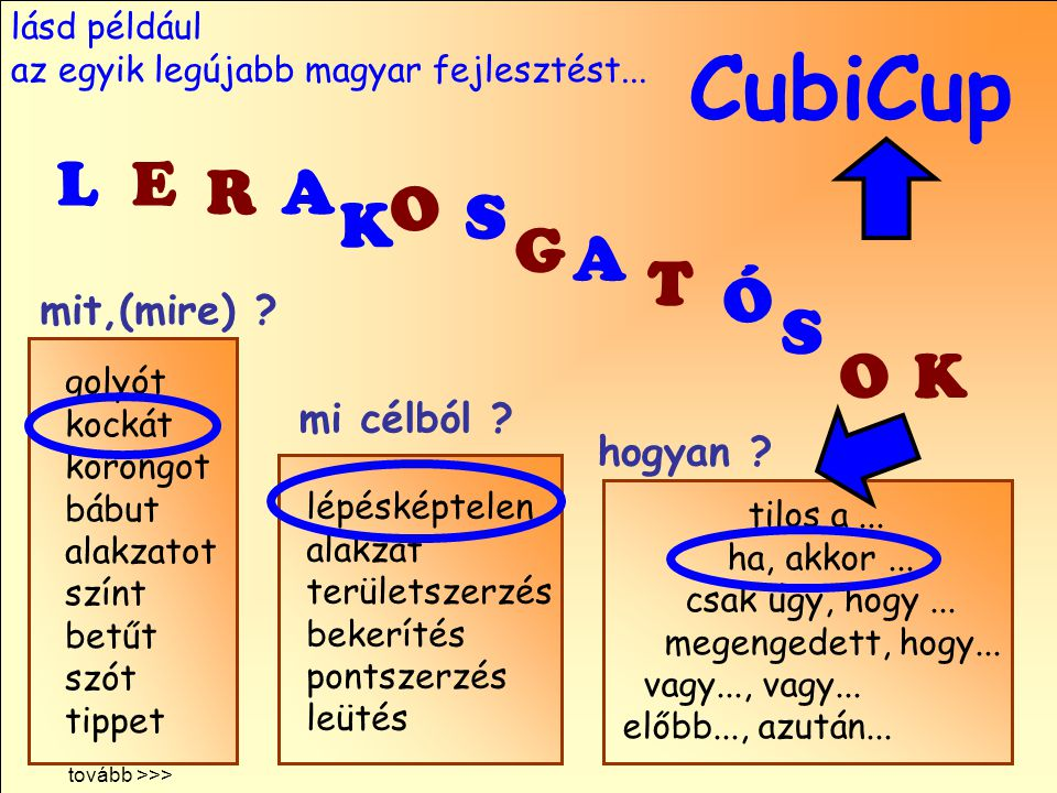 CubiCup L E R A O S K G A T Ó S O K mit,(mire) mi célból hogyan