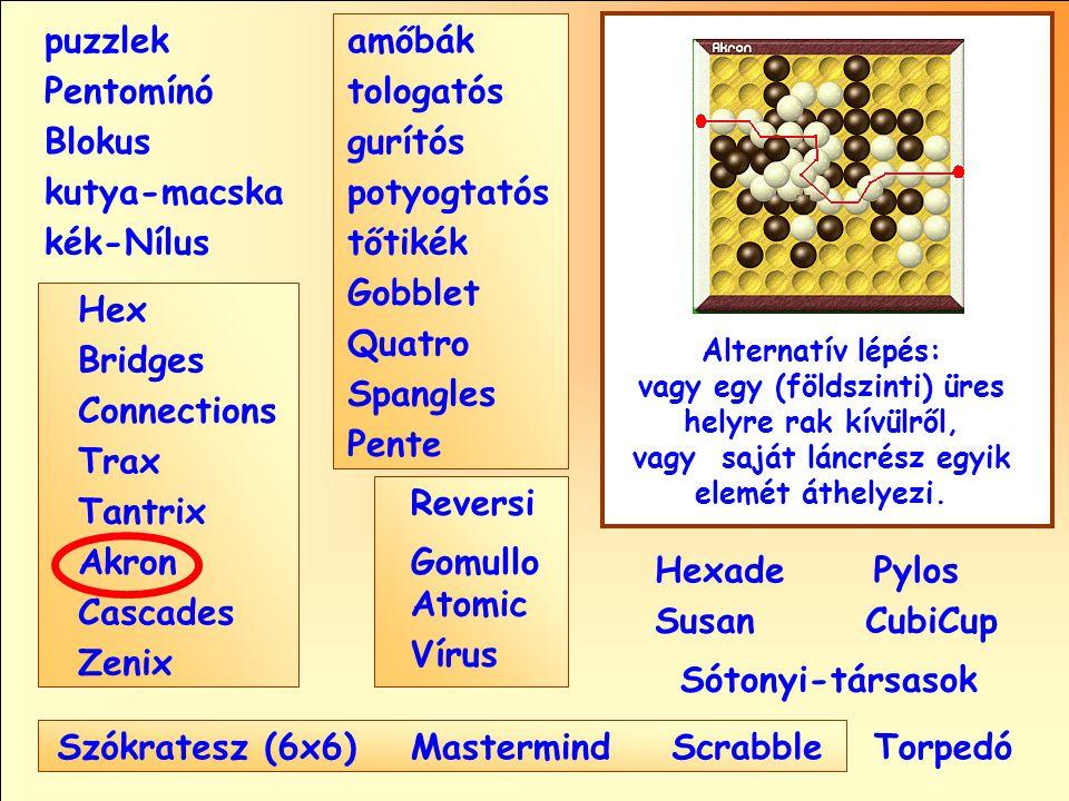 puzzlek amőbák Pentomínó tologatós Blokus gurítós kutya-macska