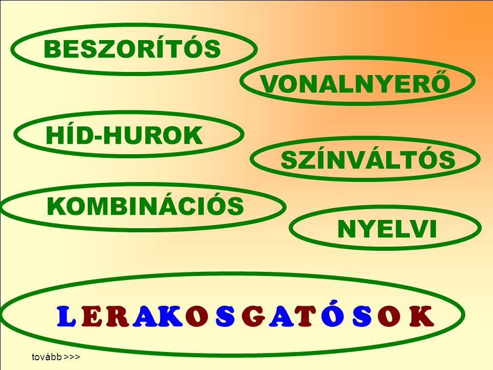 L E R A K O S G T Ó BESZORÍTÓS VONALNYERŐ HÍD-HUROK SZÍNVÁLTÓS