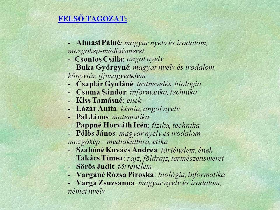 - Almási. Pálné. : magyar nyelv és irodalom, mozgókép-médiaismeret. - Csontos Csilla: angol nyelv.