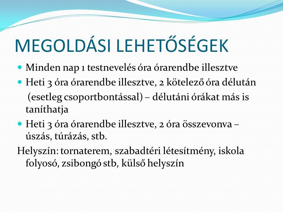 MEGOLDÁSI LEHETŐSÉGEK