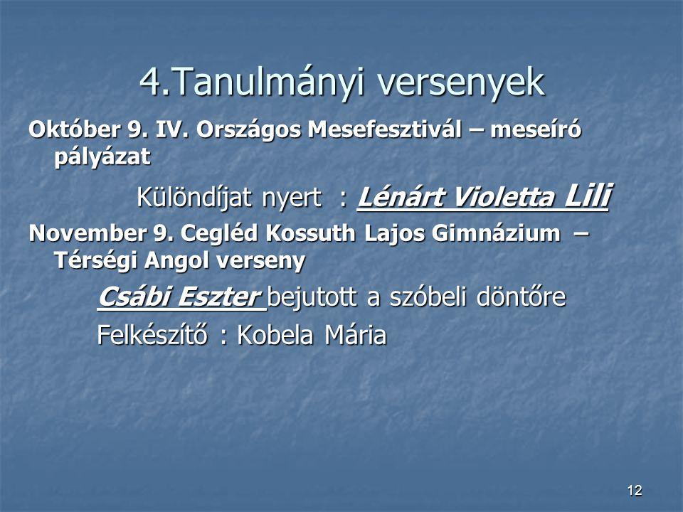 4.Tanulmányi versenyek Különdíjat nyert : Lénárt Violetta Lili