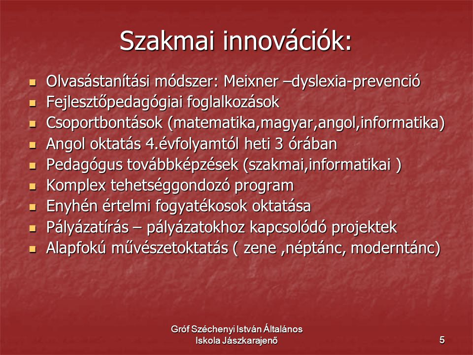 Gróf Széchenyi István Általános Iskola Jászkarajenő