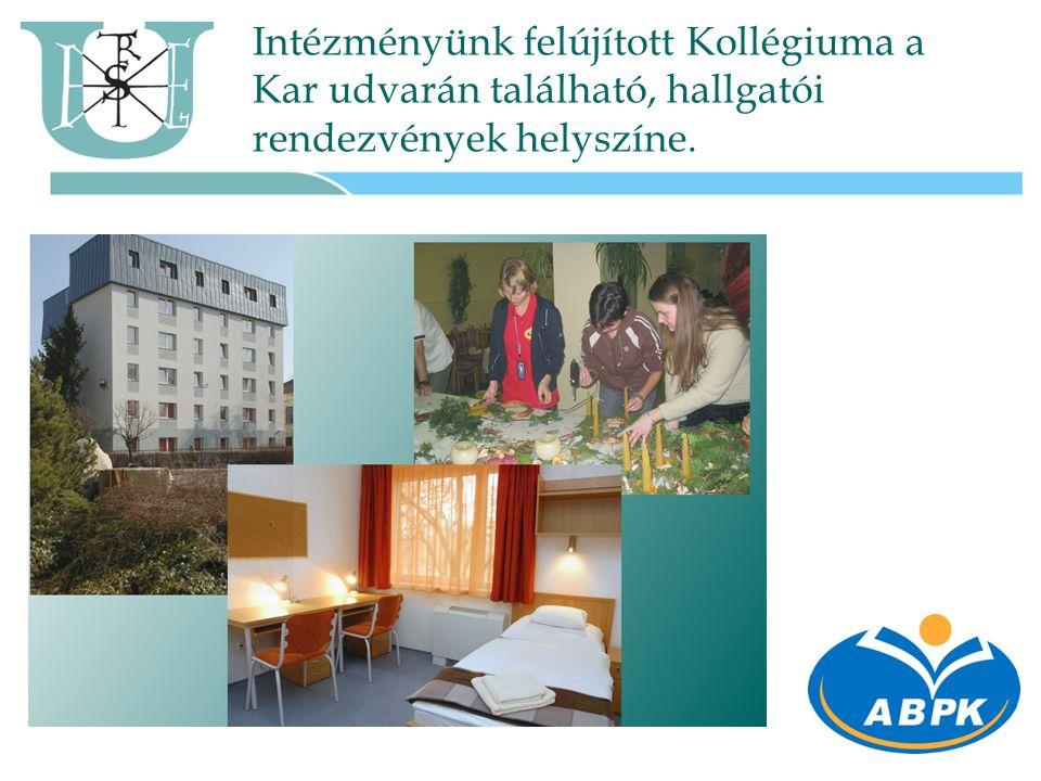 Intézményünk felújított Kollégiuma a Kar udvarán található, hallgatói rendezvények helyszíne.