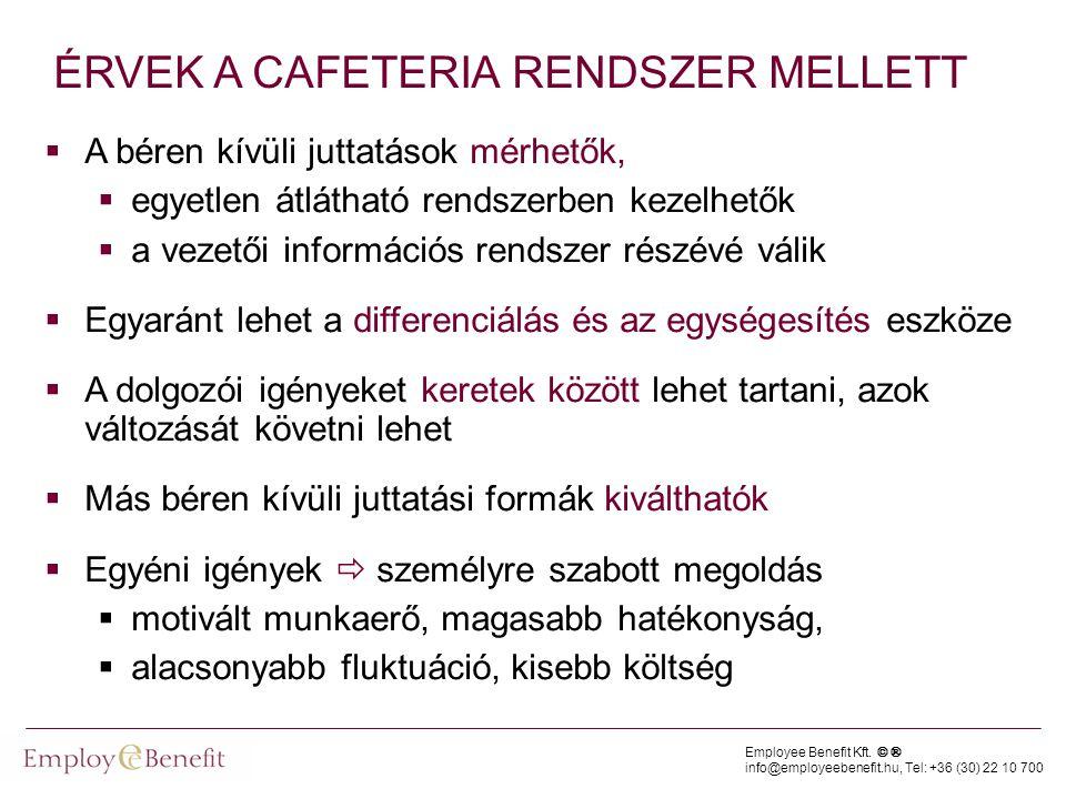 ÉRVEK A CAFETERIA RENDSZER MELLETT