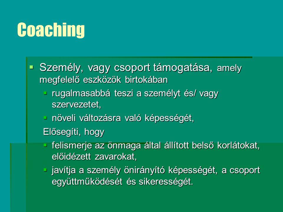 Coaching Személy, vagy csoport támogatása, amely megfelelő eszközök birtokában. rugalmasabbá teszi a személyt és/ vagy szervezetet,