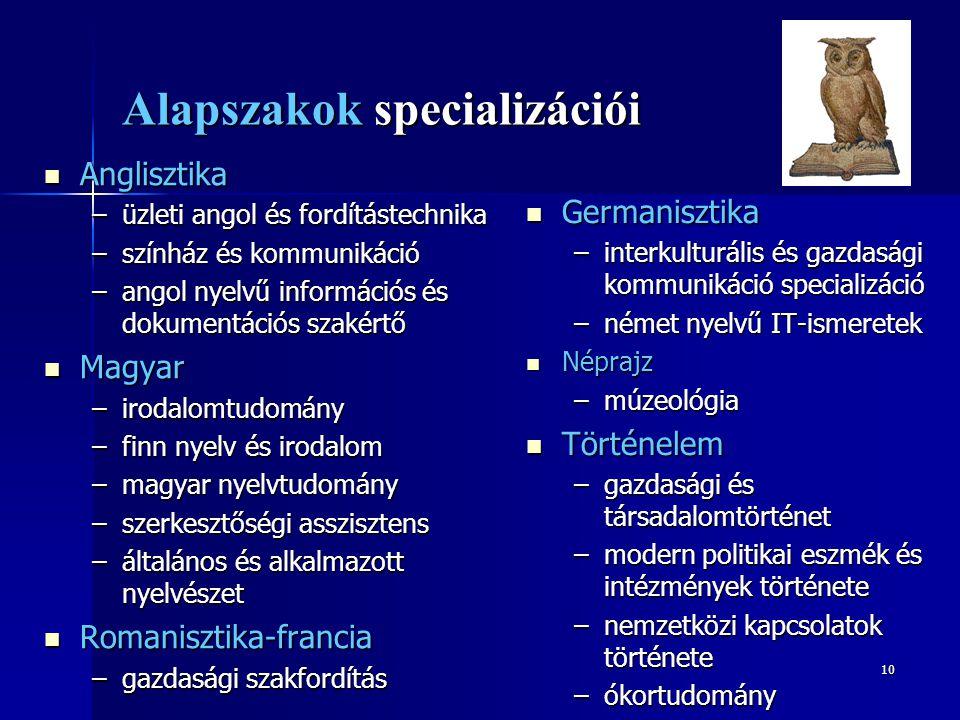 Alapszakok specializációi
