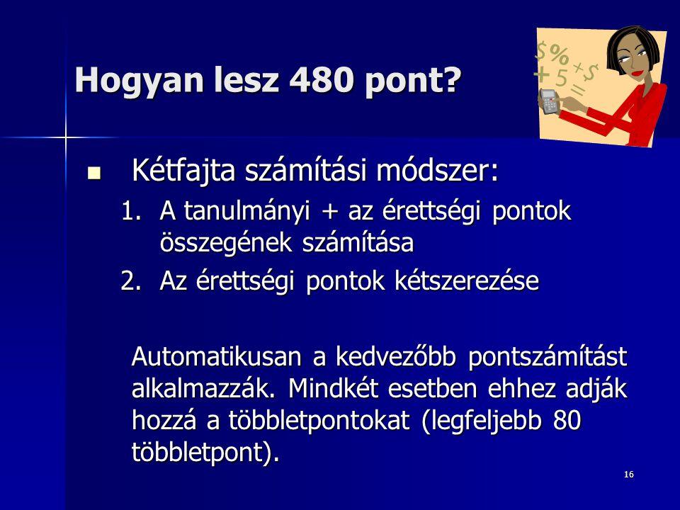 Hogyan lesz 480 pont Kétfajta számítási módszer:
