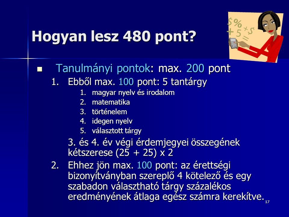 Hogyan lesz 480 pont Tanulmányi pontok: max. 200 pont