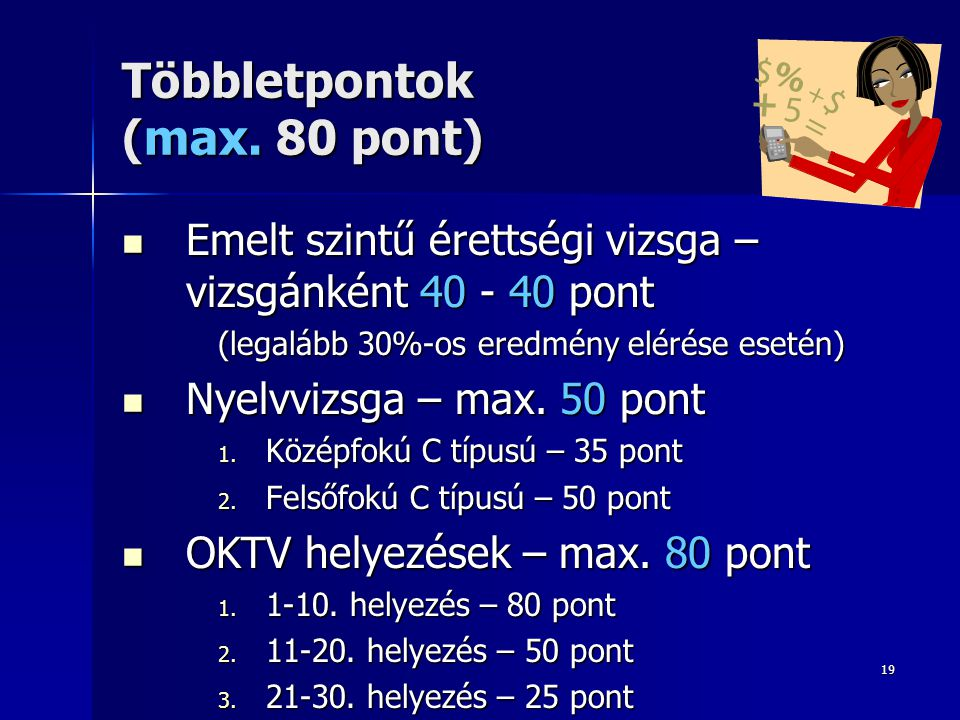 Többletpontok (max. 80 pont)