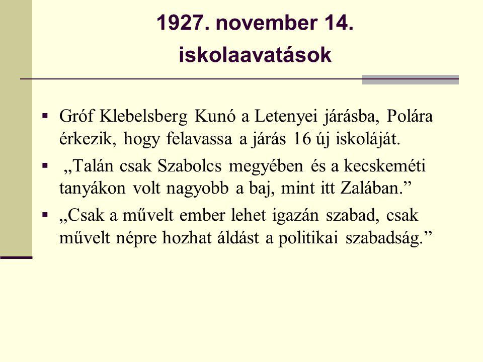 1927. november 14. iskolaavatások