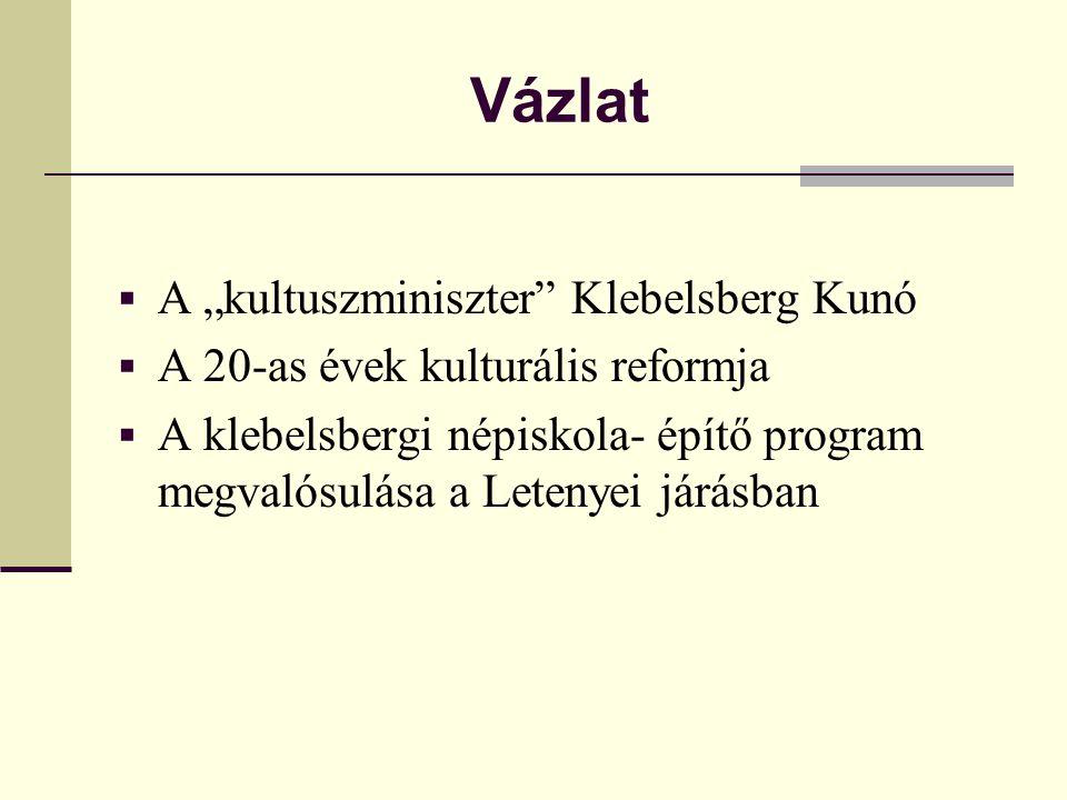 """Vázlat A """"kultuszminiszter Klebelsberg Kunó"""