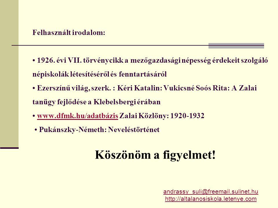 Felhasznált irodalom: • 1926. évi VII
