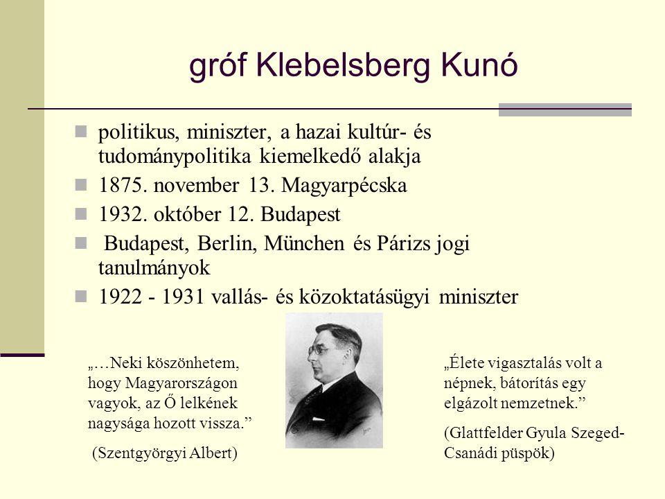 gróf Klebelsberg Kunó politikus, miniszter, a hazai kultúr- és tudománypolitika kiemelkedő alakja. 1875. november 13. Magyarpécska.