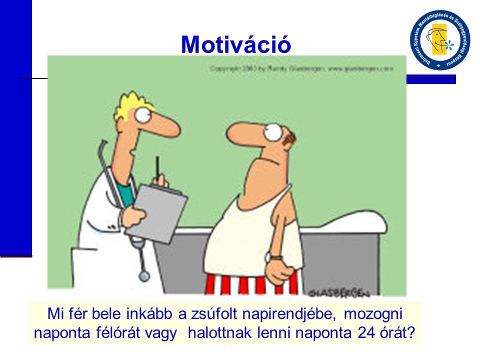 Motiváció Mi fér bele inkább a zsúfolt napirendjébe, mozogni naponta félórát vagy halottnak lenni naponta 24 órát