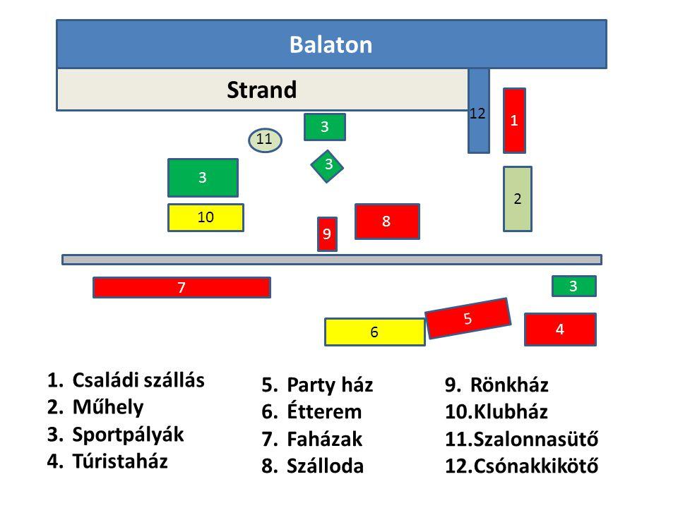Balaton Strand Családi szállás Műhely Sportpályák Túristaház Party ház